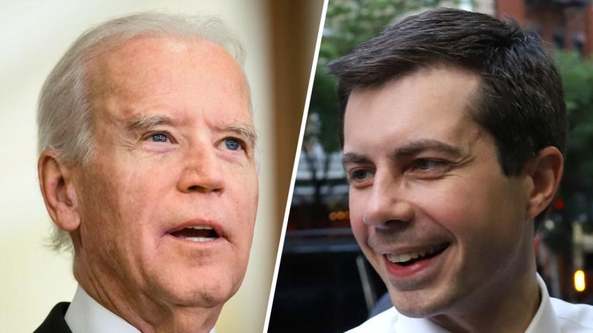 Combinación de fotografías de los precandidatos presidenciales Joe Biden y Pete Buttigieg.