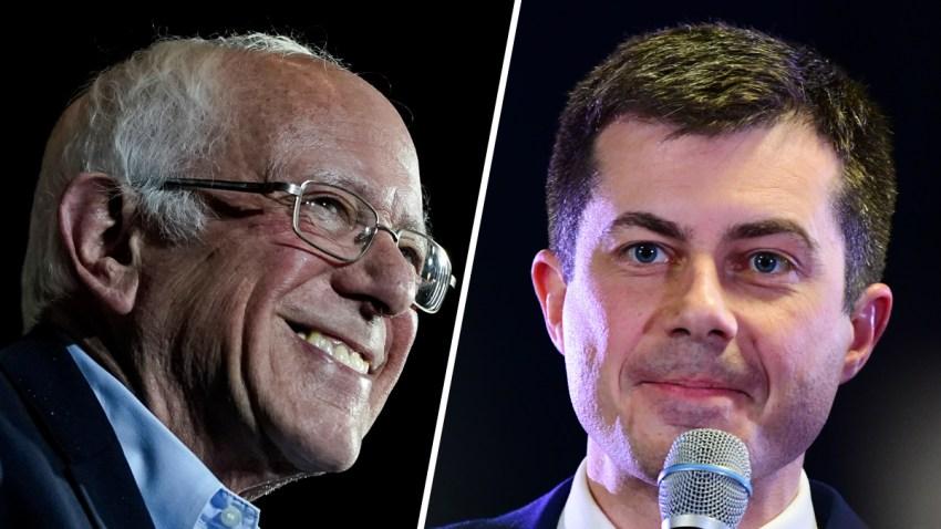 Combinación de fotografías de Bernie Sanders y Pete Buttigieg.