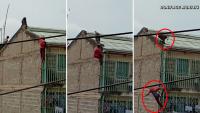 Dramático video: hombre cae de un cuarto piso huyendo de un babuino salvaje