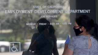 An entrance to the California State Employment Development Department building in Canoga Park, California.
