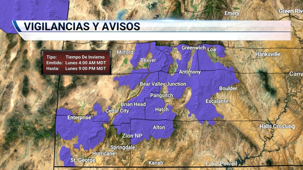 Advertencia por Tiempo de Invierno en el sur de Utah