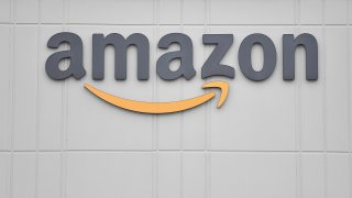 The logo of US online retail giant Amazon is seen at the distribution center on Staten Island.